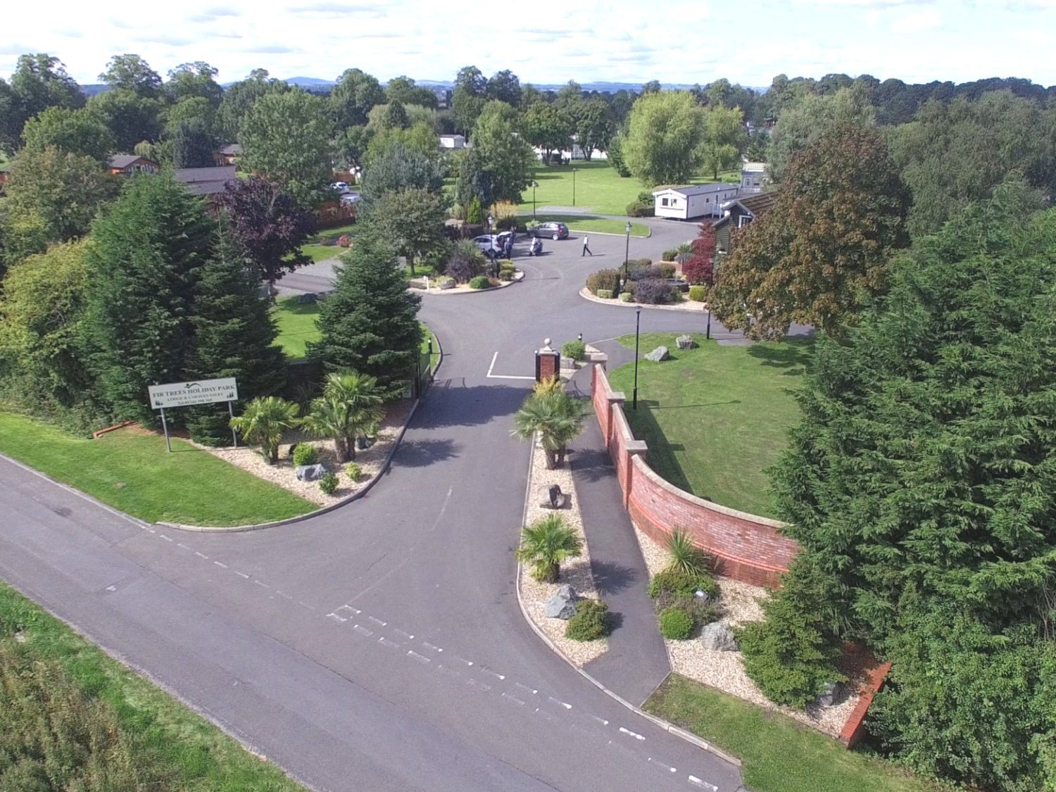 Aerial views of Fir Trees Caravan and Lodge Park entrance